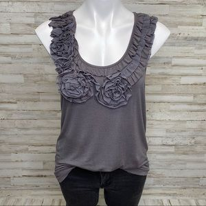 Bellatrix Soft Tank Top with Flower Embellishment
